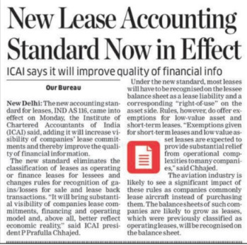 ICAI - New Lease Accounting Standard Now in Effect